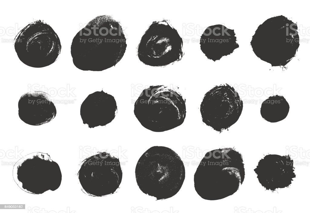 Vector brushes. Set of black circle ink vector art illustration