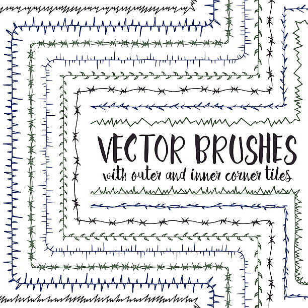 Vector brushes with inner and outer corner tiles. Set of 10 hand drawn vector pattern brushes with inner and outer corner tiles. Editable decorative elements for your design. Perfect for frames, dividers, borders, ornaments. Handmade ink illustration sharp stock illustrations