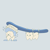 Vector brushing cute character teeth illustration.