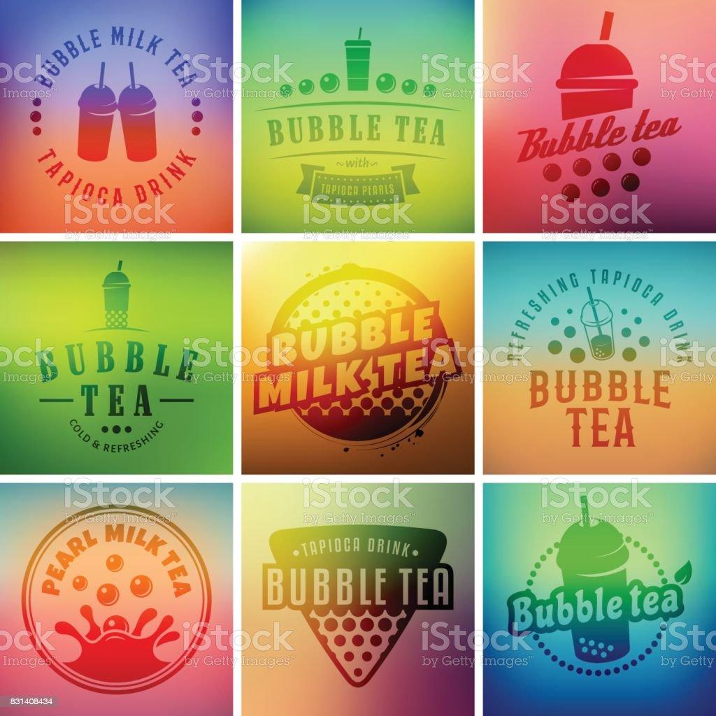 Vector bubble tea badges vector art illustration