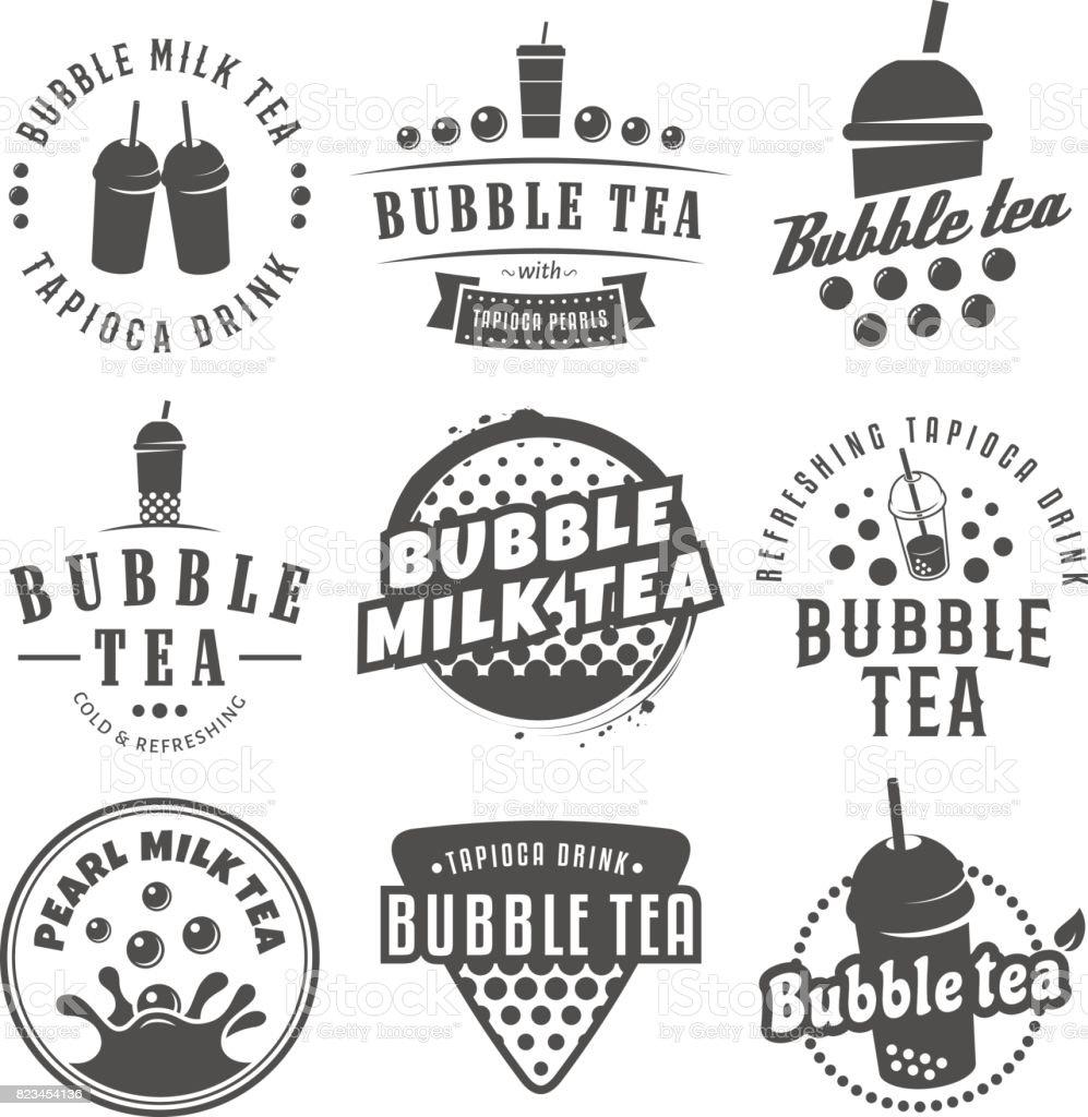 Vector bubble tea symbols. vector art illustration