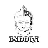 Vector buddha head isolated on white.