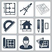 Vector building design icons set