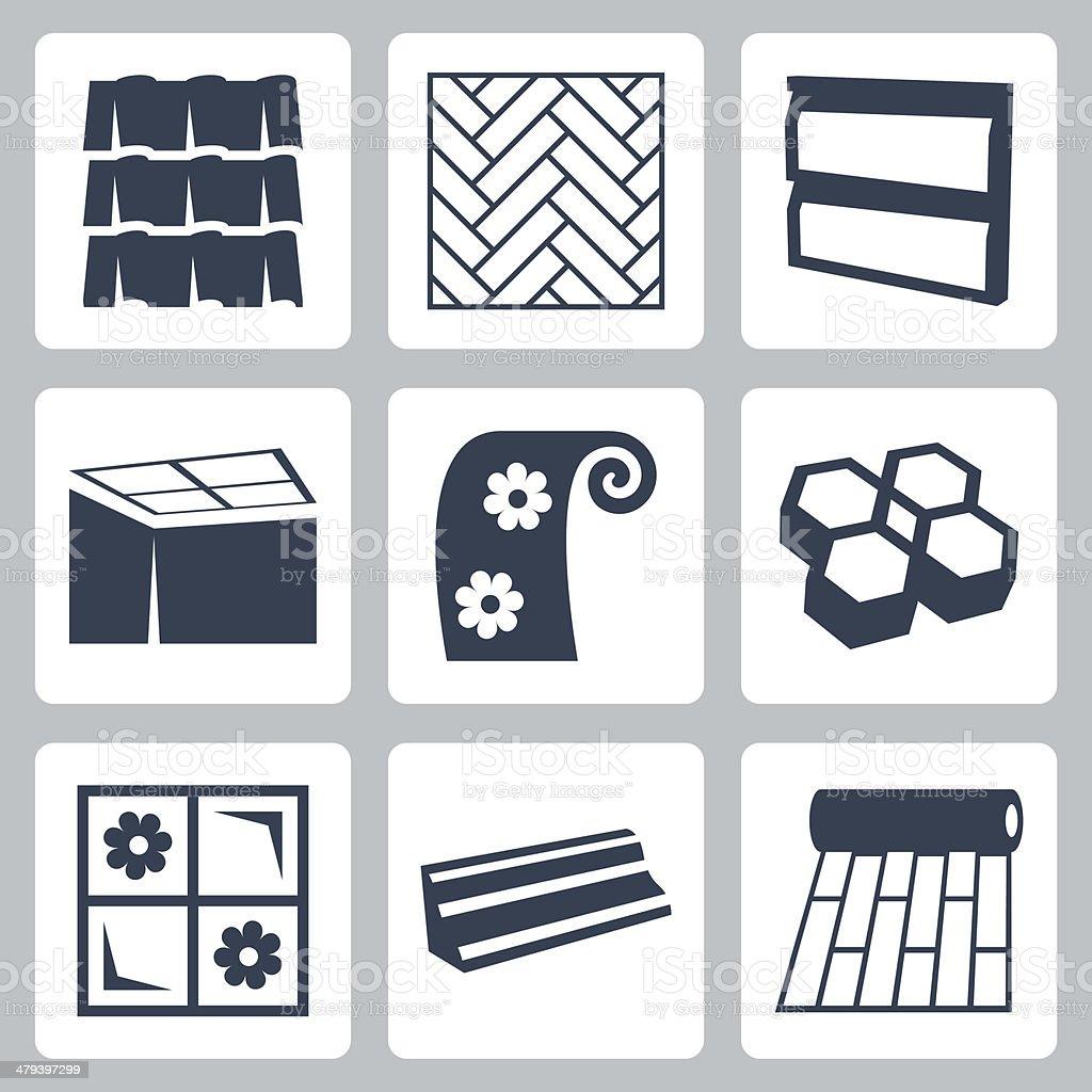 Vector building materials icons set vector art illustration