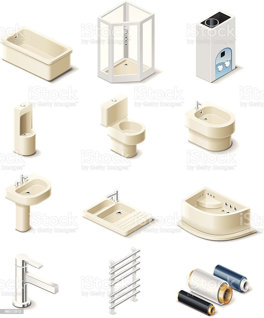 Vector building products icons. Sanitary engineering royalty-free vector building products icons sanitary engineering stock vector art & more images of bathtub