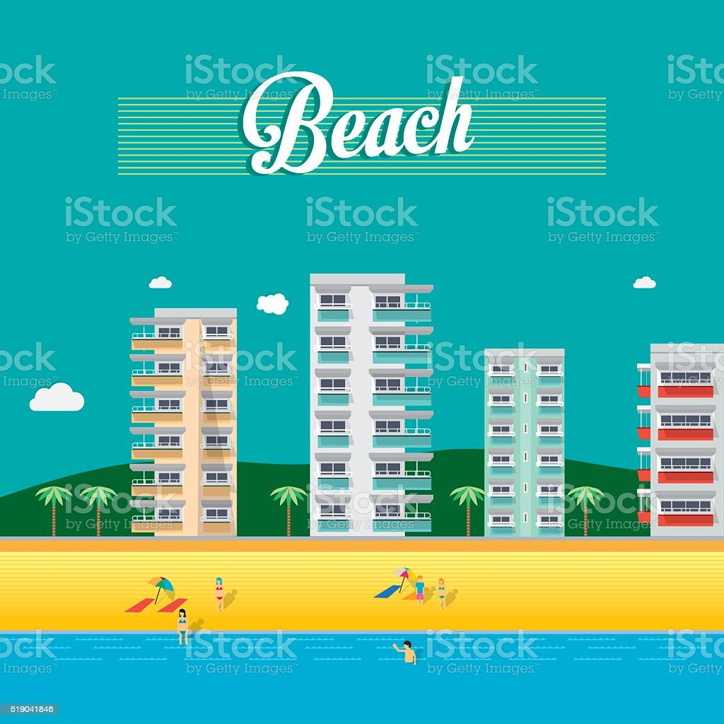 Vector buildings and beach. City Skyline vector art illustration