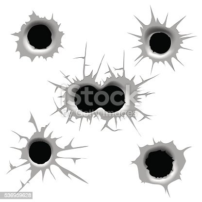 Vector bullet hole. Single and double bullet holes on white background