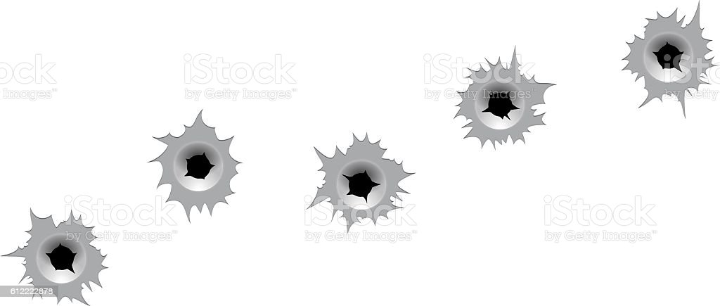 Vector bullet holes. vector art illustration