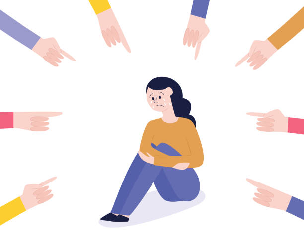 Vector bullying of teen girl sitting alone flat Vector concept of bullying and teenage harassment. Lonely teen girl victim sitting holding knees with sad depressed face with hands pointing to him. infamous stock illustrations