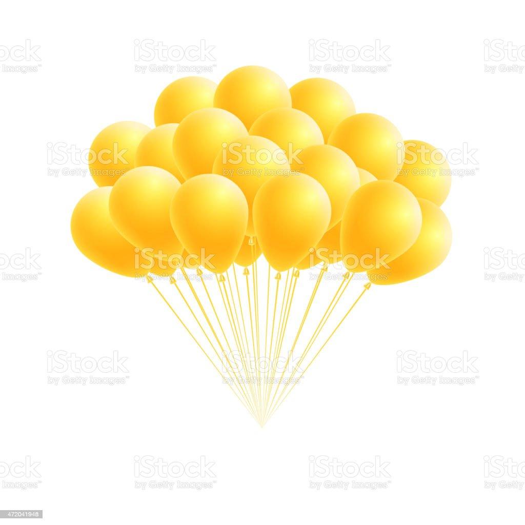 Vector bunch birthday or party yellow balloons vector art illustration