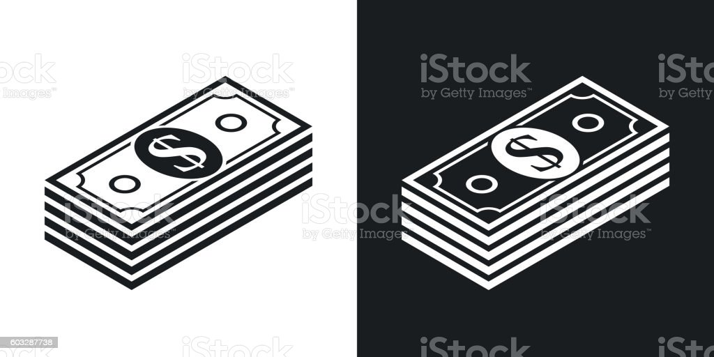 Vector bundle of dollars icon. Two-tone version vector art illustration