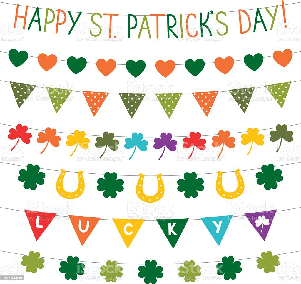 vector bunting decoration for st patricks day stock vector art