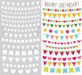 Vector bunting flags set
