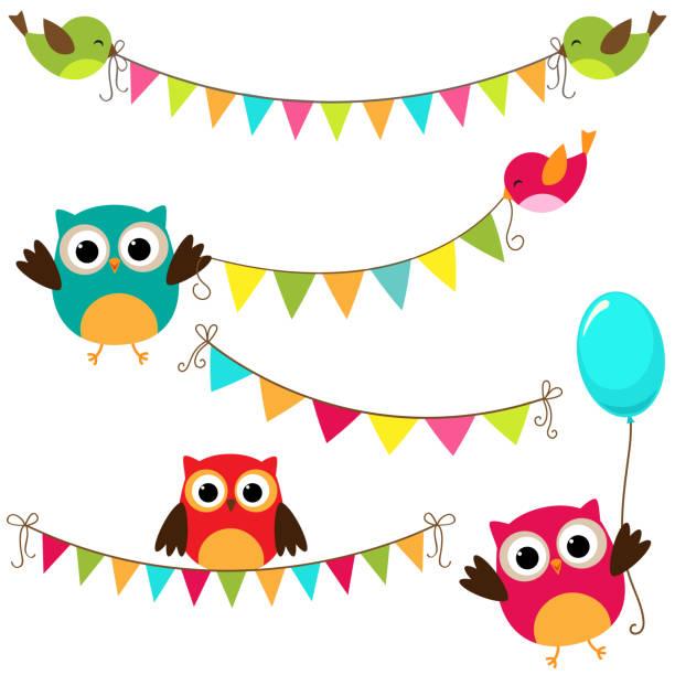 ilustrações de stock, clip art, desenhos animados e ícones de vector bunting set - balão enfeite