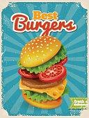 Food poster. Cool vintage style vector Best Burgers poster. High detailed vector burger illustration.