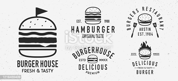 istock Vector Burger logo set. 5 Vintage Burger restaurants emblems. Hamburger labels, emblems, logo. burger house, restaurant with burger. Burgerhouse Logo template. 1216455409