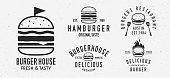 istock Vector Burger logo set. 5 Vintage Burger restaurants emblems. Hamburger labels, emblems, logo. burger house, restaurant with burger. Burgerhouse Logo template. 1216455409