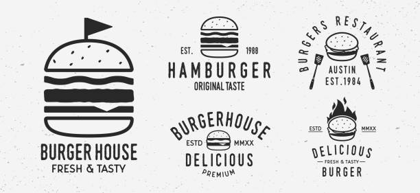 stockillustraties, clipart, cartoons en iconen met vector burger logo set. 5 vintage burger restaurants emblemen. hamburger labels, emblemen, logo. burgerhuis, restaurant met hamburger. burgerhouse logo sjabloon. - hamburgers