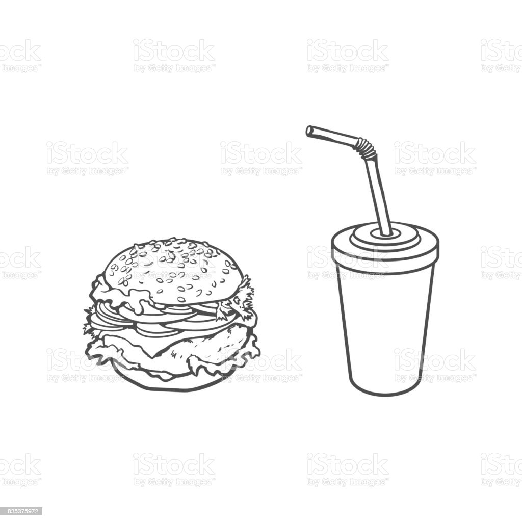 Vector Burger Soft Drink Cup Sketch Set Isolated Stock