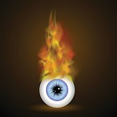 Vector Burning Blue Eye with Fire Flame