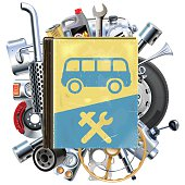 Vector Bus Repair Book with Car Spares, including tire, disk brake, wheel, muffler, filter, wrench and other, isolated on white background
