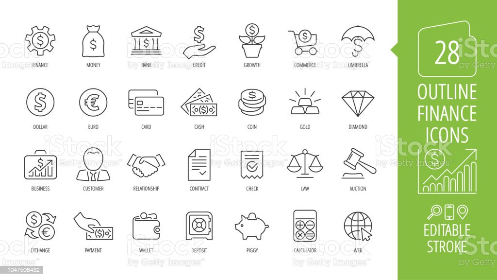 Vector business and finance editable stroke line icon set with money, bank, check, law, auction, exchance, payment, wallet, deposit, piggy, calculator, web and more isolated outline thin symbol. - Grafika wektorowa royalty-free (Bank)