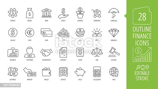 Vector business and finance editable stroke line icon set with money, bank, check, law, auction, exchance, payment, wallet, deposit, piggy, calculator, web and more isolated outline thin symbol.