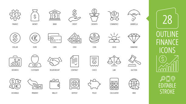 vector business and finance editable stroke line icon set with money, bank, check, law, auction, exchance, payment, wallet, deposit, piggy, calculator, web and more isolated outline thin symbol. - bank stock illustrations