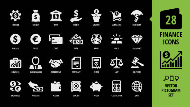 illustrazioni stock, clip art, cartoni animati e icone di tendenza di vector business and finance icon set on a black background with money, bank, piggy, credit, exchange, graph, deposit, gold, diamond, businessman, agreement, contract and more isolated silhouette sign. - appalti pubblici