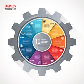 Vector business and industry gear style circle infographic template for graphs, charts, diagrams and other infographics. Business concept with 10 options, parts, steps, processes. Gear style logo.