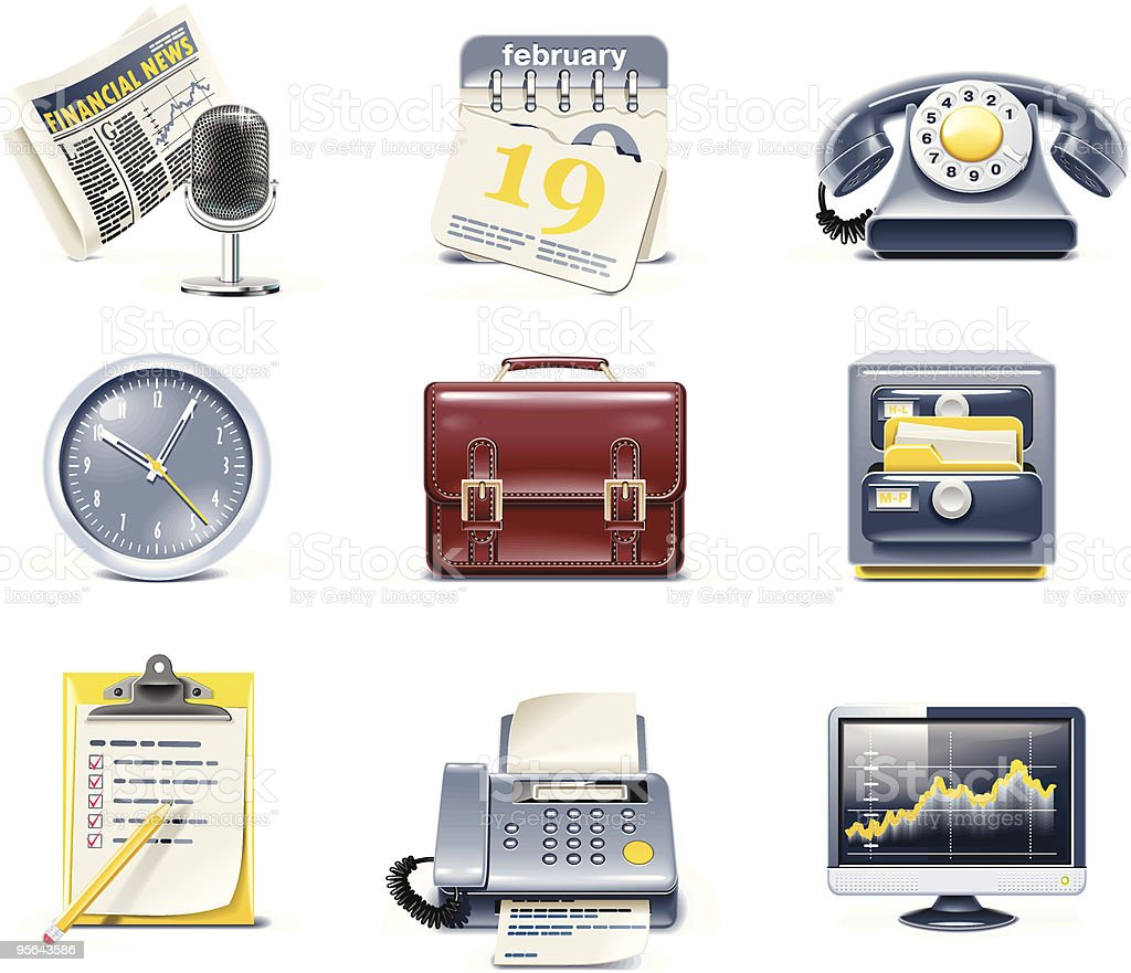 Vector business and office icons royalty-free stock vector art