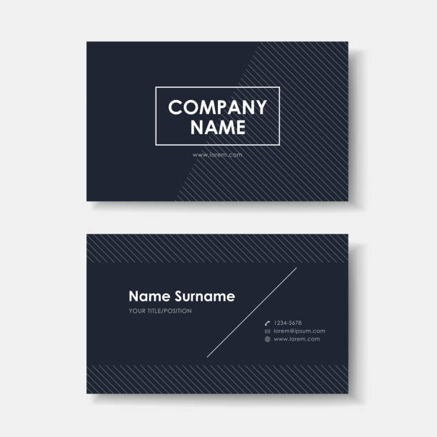 illustrations, cliparts, dessins animés et icônes de illustration carte de visite design minimaliste noir - business card mock up