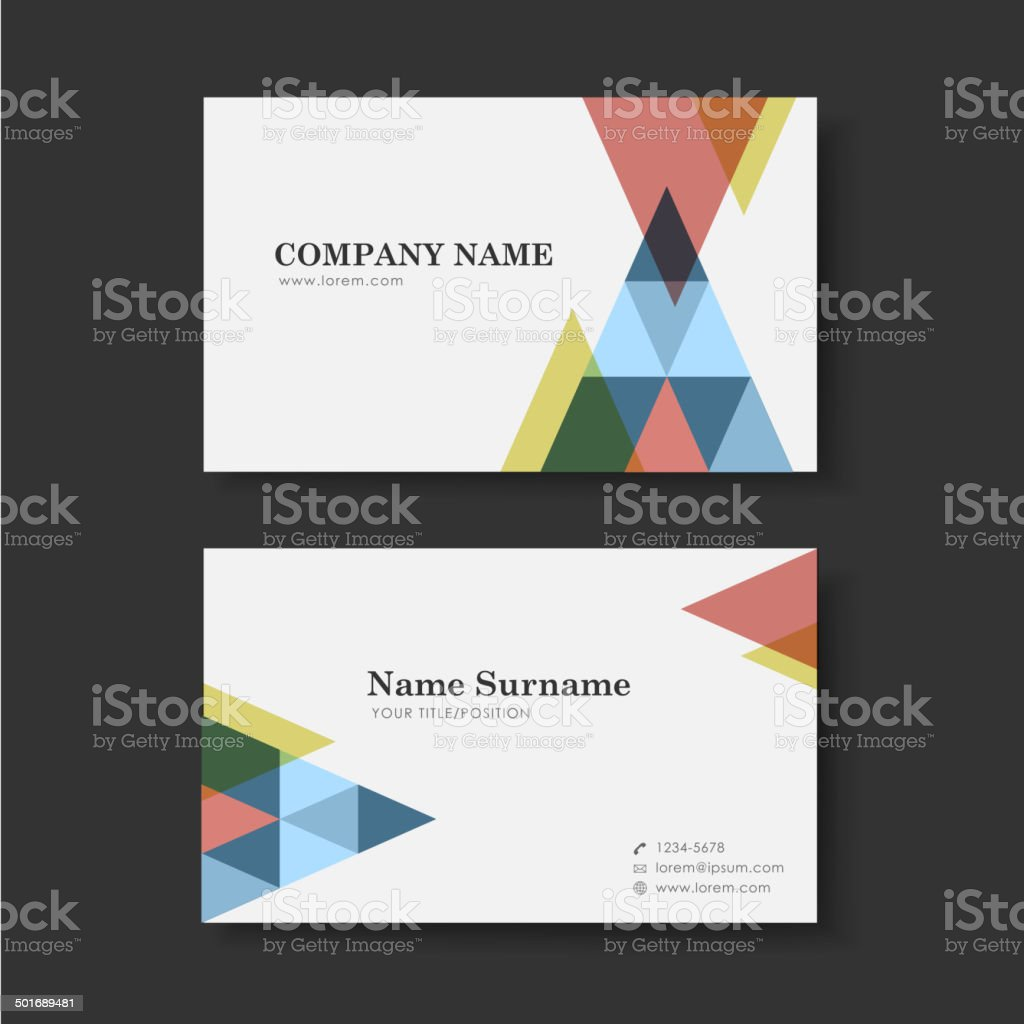 vector business card design template of triangle vector art illustration