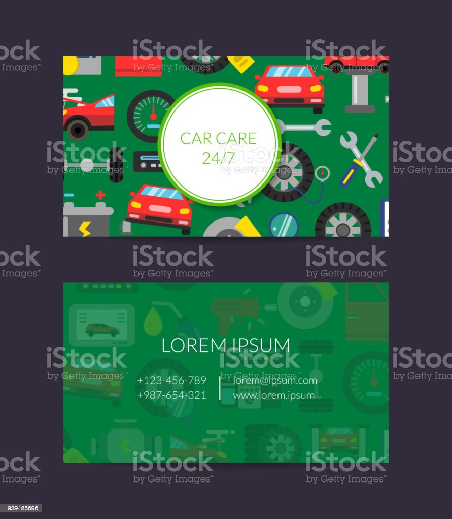 Vector Business Card Template For Auto Parts Store Or Car Service ...