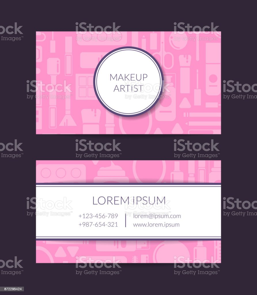 Vector Business Card Template For Beauty Brand Or Makeup Artist ...