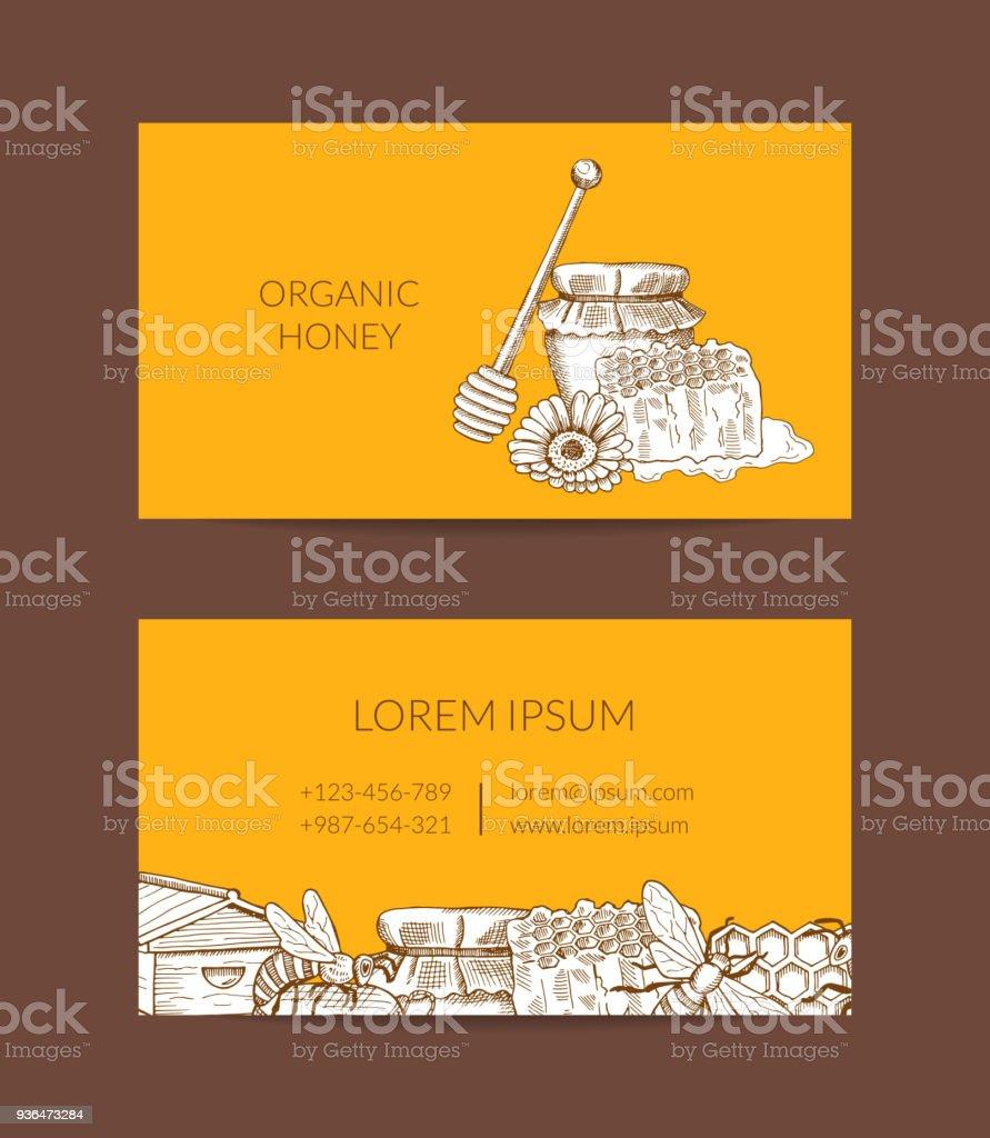 Modele De Carte Visite Vecteur Pour Lagriculteur Miel Ou La Boutique