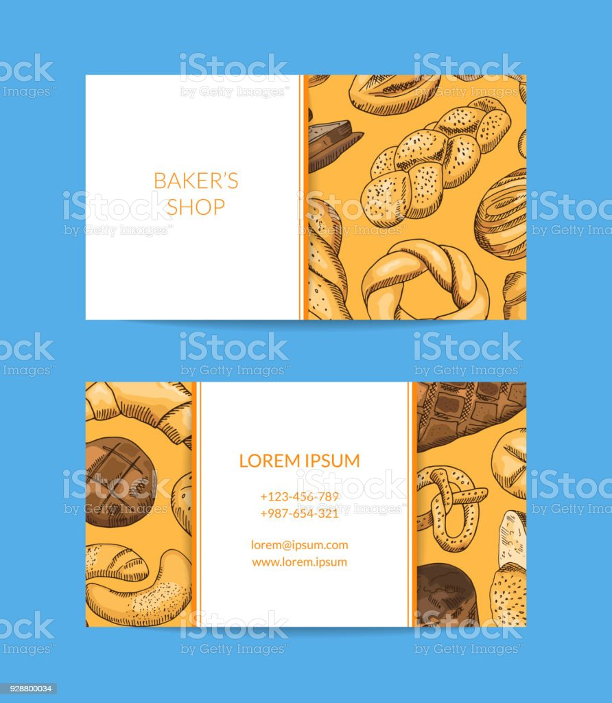 Vector business card template for shop delivery with hand drawn vector business card template for shop delivery with hand drawn bakery royalty free vector reheart