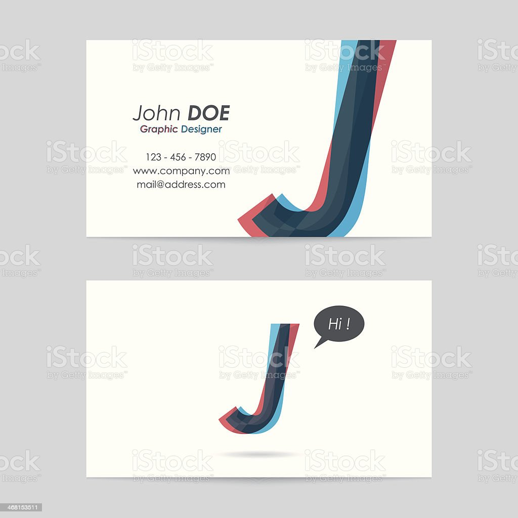 vector business card template - letter j vector art illustration