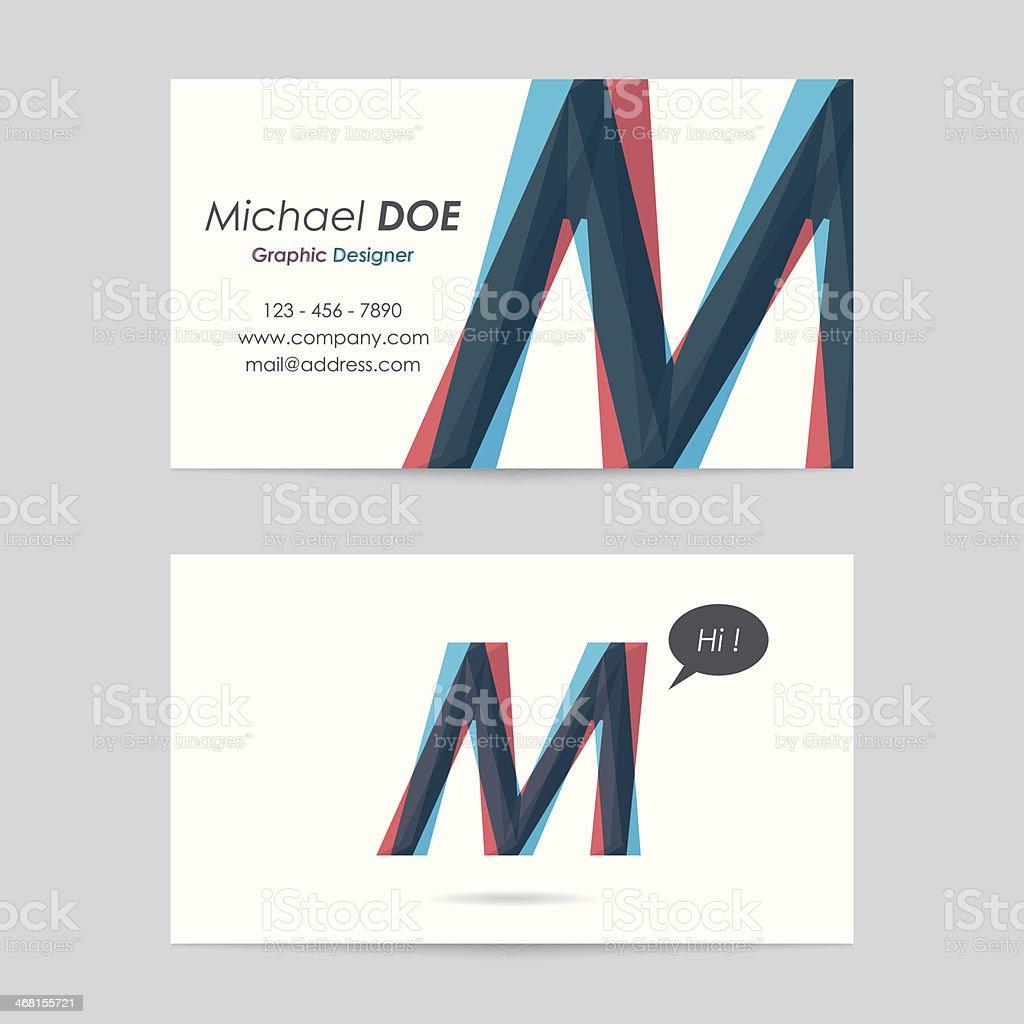 vector business card template - letter m vector art illustration