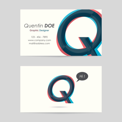 vector business card template - letter q
