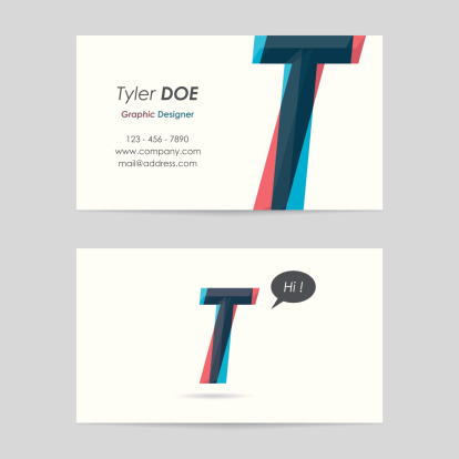 vector business card template - letter t