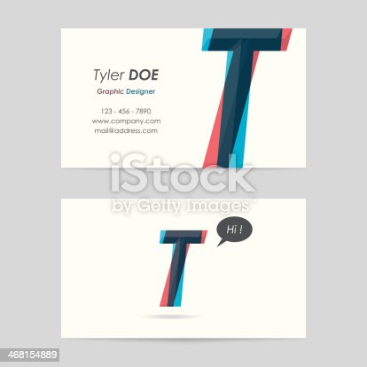 istock vector business card template - letter t 468154889