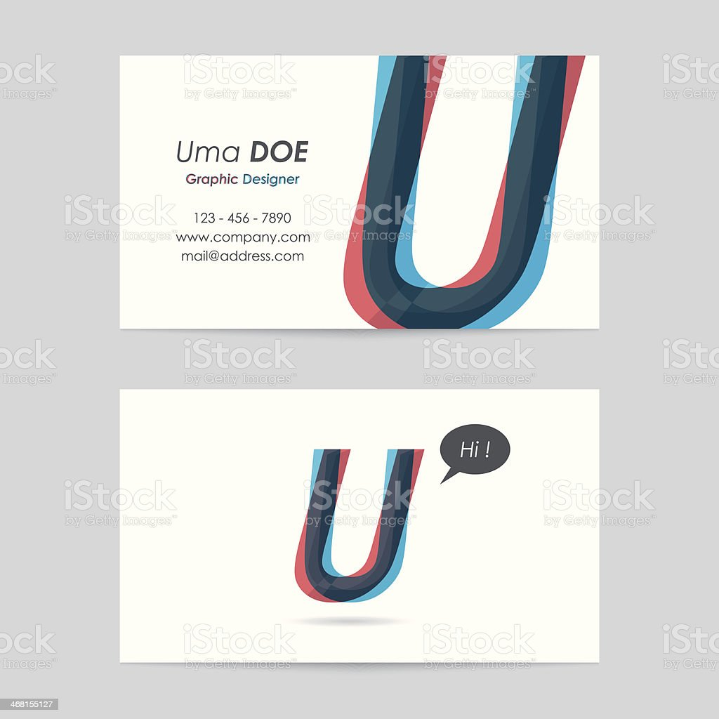 vector business card template - letter u vector art illustration