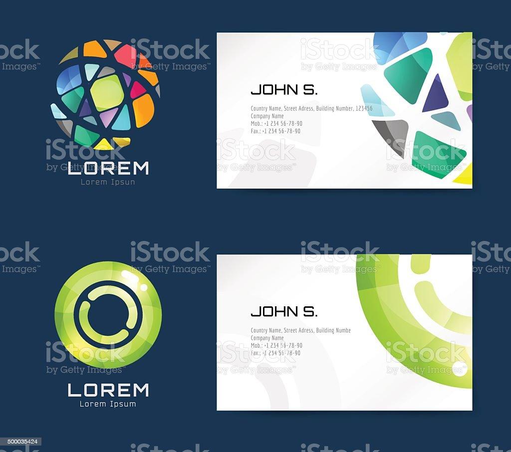 Vector business card template set vector art illustration