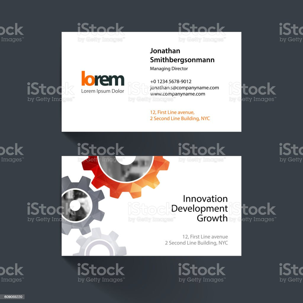 Vector business card template with blue gear and polygonal backg vector business card template with blue gear and polygonal backg royalty free vector business card wajeb Images