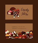 Vector business card template with cartoon chocolate candies for pastry shop