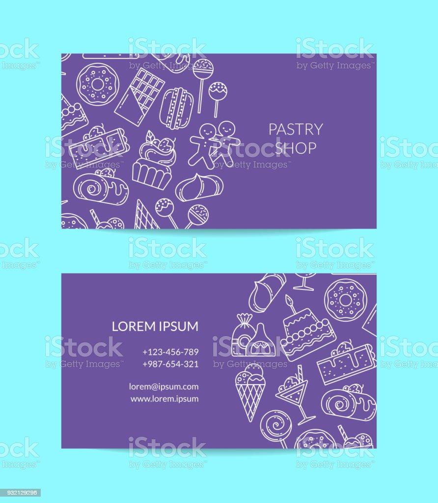 Modle De Carte Visite Vecteur Avec Des Icnes Bonbons Style Linaire Pour Ptisserie
