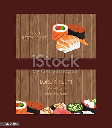 Vector business card templates in cartoon style for sushi restaurant vector business card templates in cartoon style for sushi restaurant or cooking lessons with wooden texture background arte vetorial de stock e mais reheart Gallery