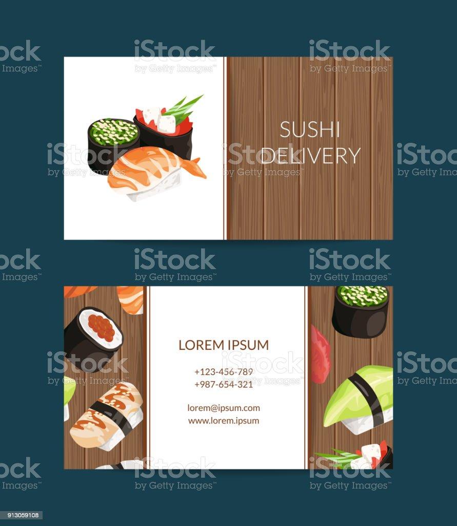 Modeles De Carte Visite Vecteur Dans Le Style Dessin Anime Pour Les Sushis