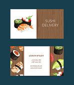 Vector business card templates in cartoon style for sushi restaurant or cooking lessons with wooden texture background illustration